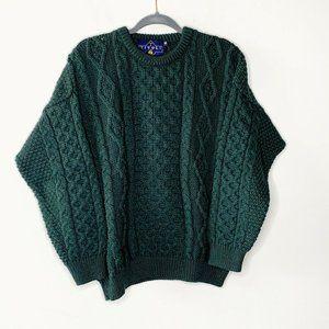 Vtg Tivoli Aran New Wool Emerald Fisherman Sweater